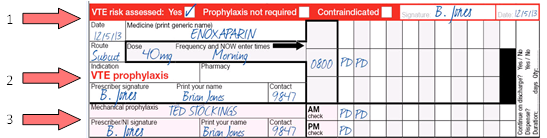 Image of the National Inpatient Medication Chart (NIMC): dedicated VTE risk assessment and prophylaxis section