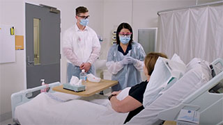 Droplet Precautions - Interact with the patient