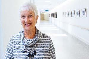lady in hospitl hallway